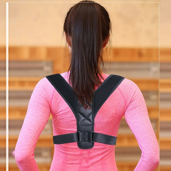 Szblaze Unisex Upper Back Posture Corrector Shoulder Lumbar Brace Pain Relief Clavicle Support Belt Adjustable Vest Corset #265196
