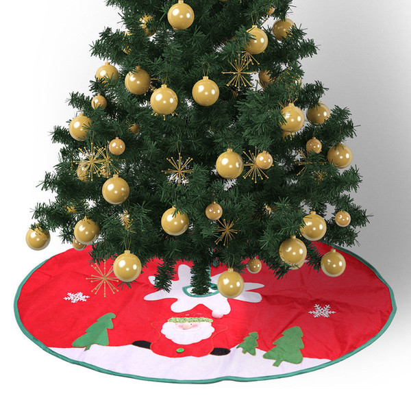 Grande robe jupes d'arbre de Noël Base de couverture Décoration de Noël Décor rouge mignon Père Noël Motif Party Decoration jupes d'arbre
