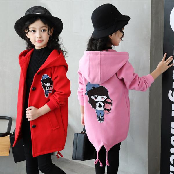 Children's Cartoon Wool Blends Clothing New Winter Coat Girl Coat Woolen Korean Version Thick Child Hoodies Coat