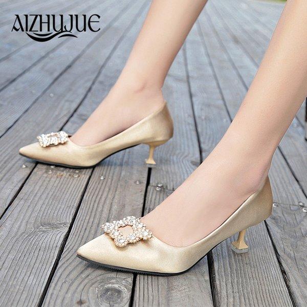 Women Pumps High Heel Bridal White Wedding Rhinestone Crystal Shallow Fashion Faux Silk Satin Stiletto gold black pumps