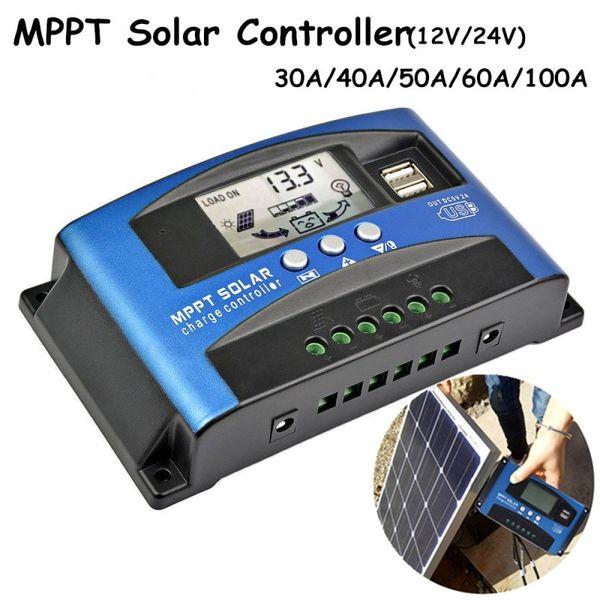 1 Pc Display LCD MPPT Carregador Solar Controlador de Bateria Do Painel Solar Regulador Inteligente 12 V / 24 V Painel Solar Power Controller USB Móvel Pho