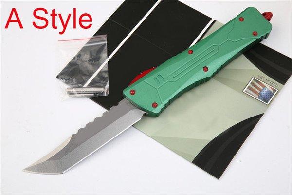 3 Arten Double Action Green Griff Taktisches Messer Jagd EDC Werkzeug Utility Survival Camping Utiltiy Messer Outdoor-Ausrüstung P977M Y
