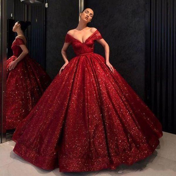 Vintage Red Evening Dresses Off The Shoulder V Neck Ball Gown Robes De Soiree Sequined Prom Dress