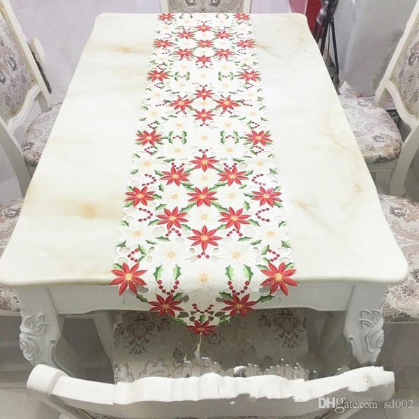 Christmas Table Runner High Grade Tablecloth Embroidery Hollow Cloths Sell Well Classical Decorate Original Foreign Plant flowers 36kyb1