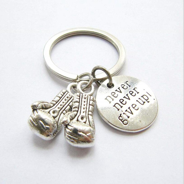 top popular Never Give Up Boxing Glove Key Chain Car Keys Ring Charm Bag Handbag Couple Key Chains Vintage Silver Accessories 2020