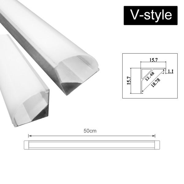 2019 Nuevo U / v / yw Three Style 50cm Soporte de canal de aluminio para barra de luz de tira led debajo de la lámpara de cocina de 1,8 cm de ancho