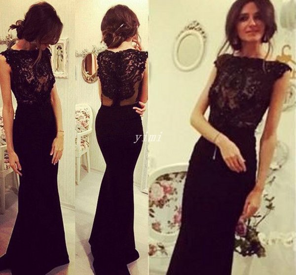 Black Mermaid Evening Dresses Bateau Sleeveless Lace Illusion Bodice Sweep  Train 2019 Formal Party Gowns Special Occasion Dress Plus Size Semi Formal  ...