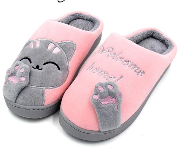 Женские зимние домашние тапочки, мультяшные туфли для кошек, нескользкие мягкие зимние теплые домашние домашние тапочки, домашние спальни, любители пар