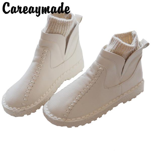 Careaymade-series Sen bottes d'hiver littéraires pour femmes en laine avec bouche, bottines épaisses rondes en laine faites main à la main, 4 couleurs