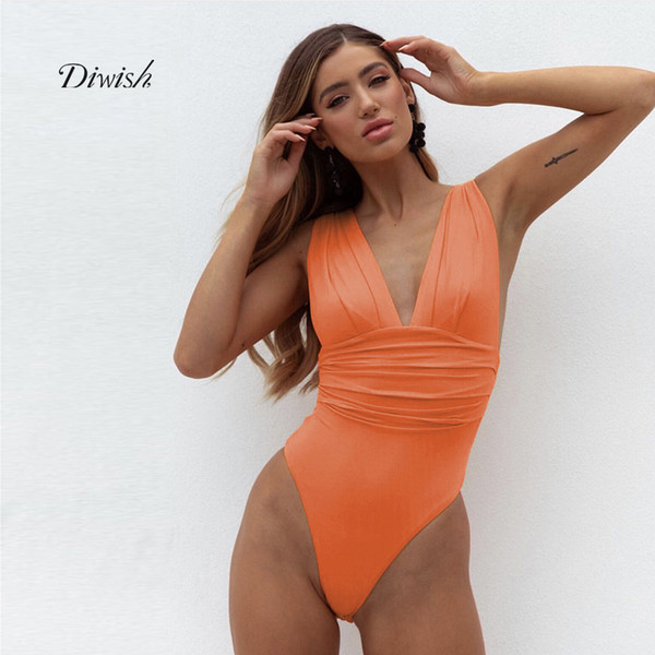 Diwish Bodysuits Women Sexy One-piece Sleeveless Deep V Neck Fold Skinny Bodysuits Beach Style Backless Female Swimsuit Suits