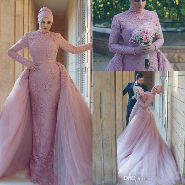 Modest Saudi Arabic Muslim Mermaid Wedding Dresses with Detachable Skirts Long Sleeves Appliqued Hajib Lace Bridal Gown For pakistani Tulle