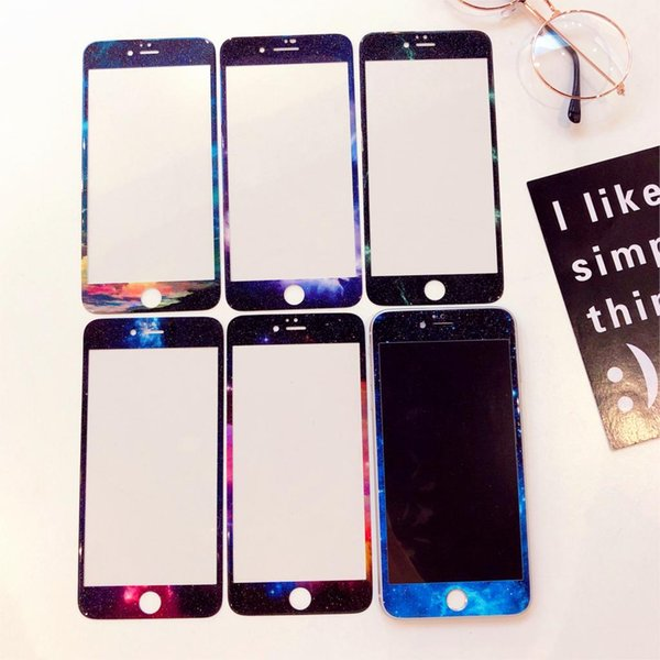 Glitter Tempered Glass for iPhone 6 6S Screen Protector for iPhone 7 8 Plus Glass Film Fashion Starry Sky Landscape Pattern