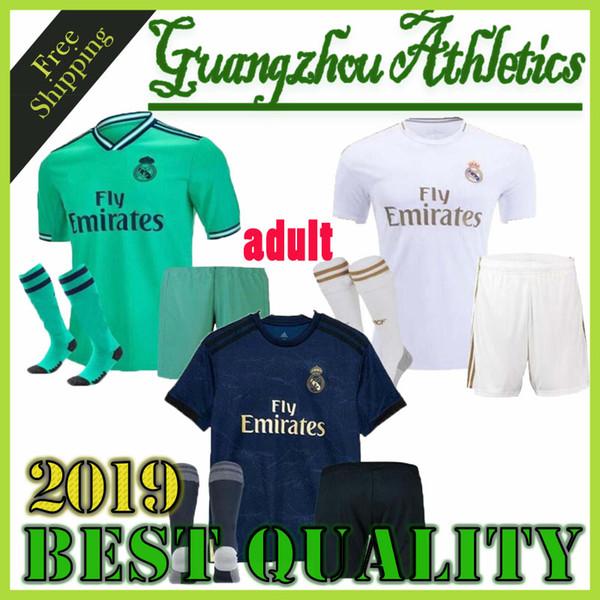 top popular NEW 2019 2020 Real Madrid soccer jerseys adult sets 2019 2020 ASENSIO MODRIC BALE ISCO HAZARD football shirts home away men's kits customize 2019