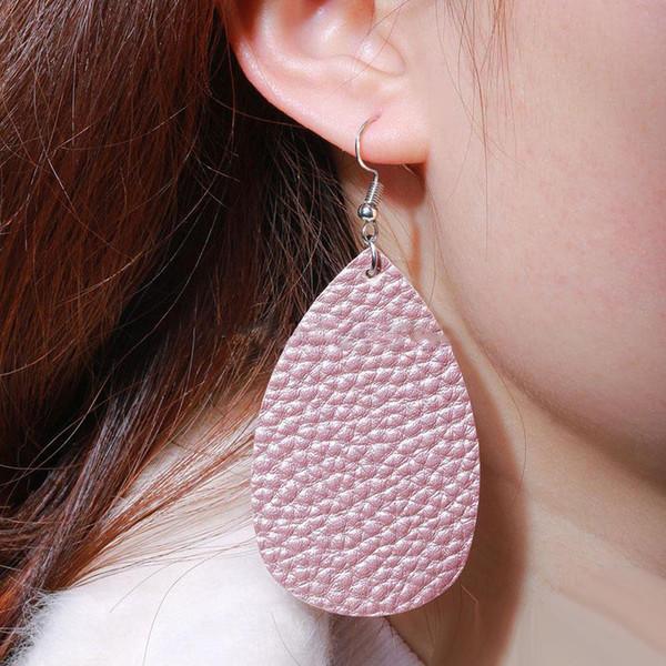 Art- und Weisereine Farben-Teardrop PU-Leder-Charme-Ohrring-Wassertropfen baumeln Schmucksachen für Frauen-Mädchen Freies Verschiffen