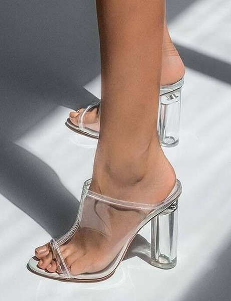 Sexy women's shoes PVC sandals 2019 fashion white block high-heeled woman mules square heel peep toed sandal slippers lady pumps