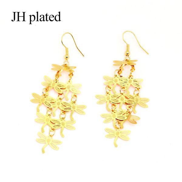 JHplated 2019 мода свадебный подарок ну вечеринку юбилей подарок золотая капля серьги женщины длинные стрекоза кулон макияж ювелирные подарки для друзей