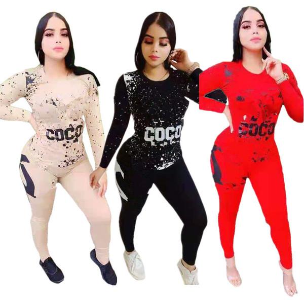 Kadınlar Harf Baskı Eşofman Yüksek Kalite Uzun Kollu Hoodie Kazak + Pantolon Tayt İki Adet Set Kıyafet Casual Popüler Spor
