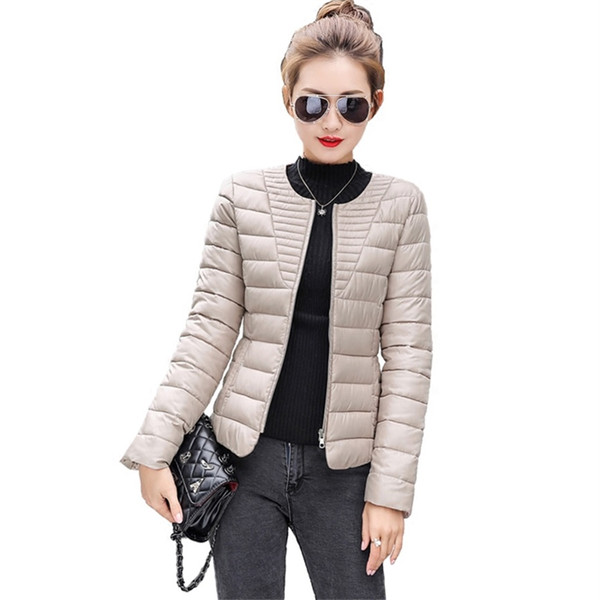 2018 new winter coat short paragraph slim down padded jacket thin women's collarless was thin jacket jq286