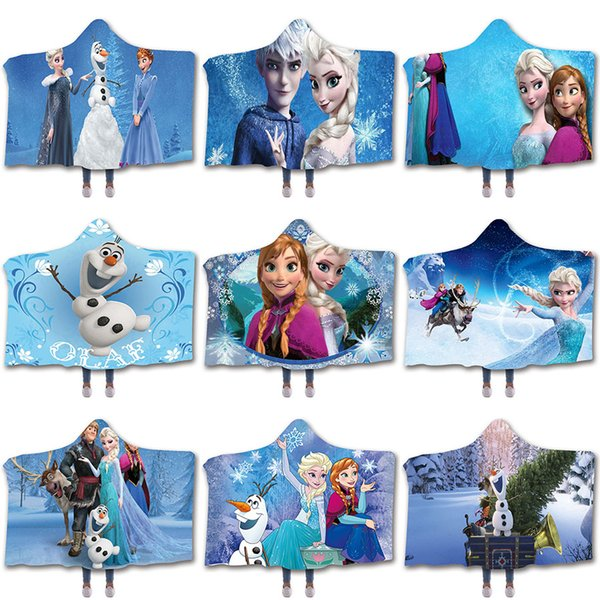 Prenses battaniye Kraliçe Kar Sherpa iplik battaniyeler 3D kış Sherpa Battaniyeler Noel Hediyesi moive Teması Kundak M799 atın kapüşonlu