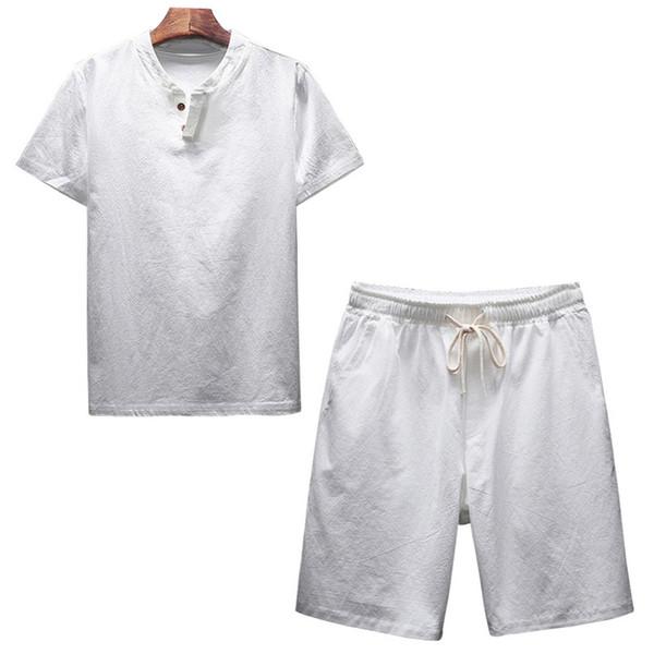 Adisputent Yaz erkek Keten Şort Setleri Geleneksel Çin Tarzı Erkekler Nefes O-Boyun Rahat Plaj Seti 5XL T-shirt Katı Suit
