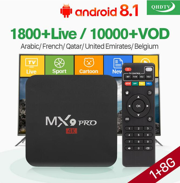QHDTV with 1 Year IPTV Code H.265 Channels Full HD French UK GERMANY EUROPE Dutch Belgium For MX9 Pro Android TV Box