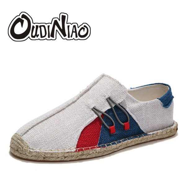 OUDINIAO Wrap Mens Shoes Casual Male Espadrilles Men Breathable Canvas Shoes Men Chinese Fashion Sewing Slip On Loafers
