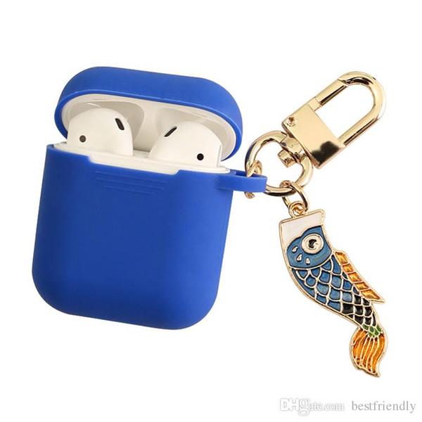Koi fish Schutzhülle für Kopfhörer Shell Cover Carabiner Car Keychain für airPods Bluetooth Headset Ladekiste Motor Car Key Chain Ring