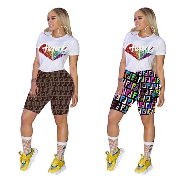 Survêtement Femme FF Sparkle Glam Sequin Lettres Imprimé O-cou T-shirt À Manches Courtes + Shorts Pantalon Maigre Jogger 2 Pièce Ensemble Tenues A41107