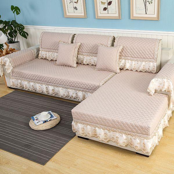 Couvertures de canapé solides pour salon sectionnel canapé slipcovers dentelle décor coton lin coin canapé lit couverture meubles protecteur