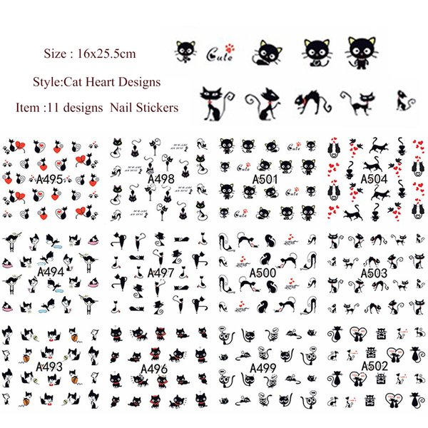 ail Art Stickers Decals 11designs Cute Slider Nail Art Cat Series Stickers Decals Lovely Beauty Water Transfer Wraps French Tips Tattoos ...