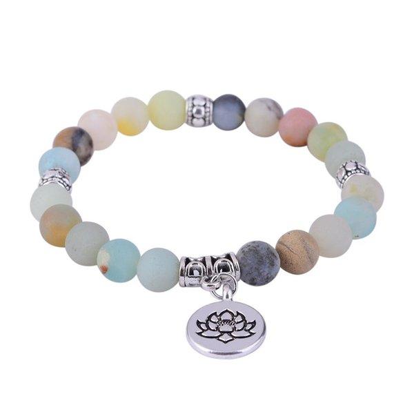 Матовый Амазонит Натуральный камень Браслет OM Белый Лотос жизни дерева Будды браслеты для мужчин Женщины Йога Мала Bead Healing ювелирные изделия