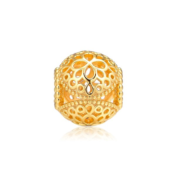 Woman Beads Shine Openwork Flower Charm Spring Garden Beads For Jewelry Making Fits Original Bracelets Sterling Silver Jewelry Charm