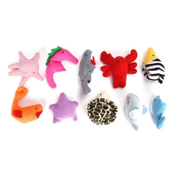 Fun Sea Animal Cute Finger Puppets Cloth Doll Plush Toy Doll Kids Baby Early Learning Toy 10pcs SSA95