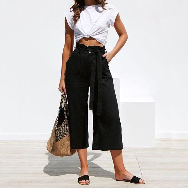 Женские брюки Street Solid Color Straps Широкие штаны Весна и лето Эксклюзивные брюки цвета хаки S-XL