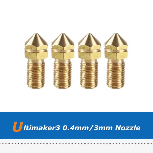 4 unids Ultimaker3 UM3 3D Impresora Repuestos 0.4mm Boquilla de Latón Para Filamento de 3mm