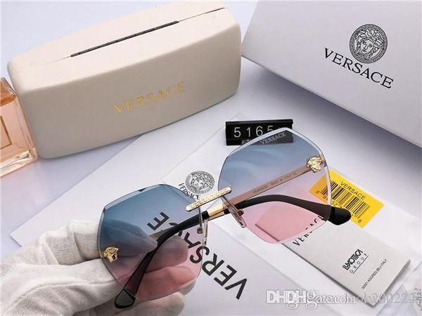 Logotipo quadrado em óculos de sol de marca designer de luxo dos homens Caixa de cinto novinho em preto e ouro brilhante para luxurys moda masculina sunglas
