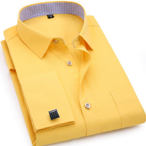 Mens French Cufflinks Long Sleeves Shirts Black White Blue Yellow Lapel Male Business Dress Shirt Fit Wedding Party Men Clothin Q190514