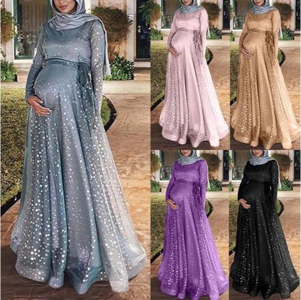 2019 mujeres embarazadas de verano palabra de longitud vestido Slim Fit más el tamaño suelta Elegancia maternidad largo embarazo vestido vestidos
