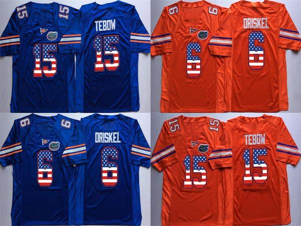 Factory Outlet-NCAA Florida Gators 6 Jeff Driske 15 Tim Tebow 22 E Smith College Football maglia taglia S-3XL, maglie stile sportivo maglie stile