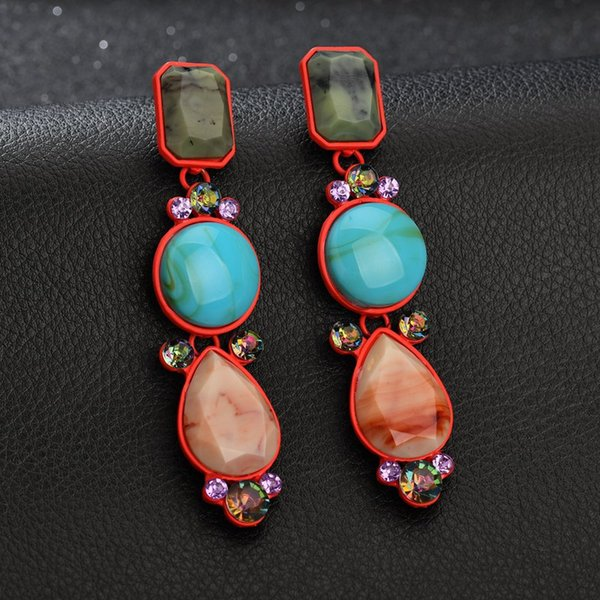 2019 Hot Sale ZA Semi precious Stone Earrings For Women Trendy Vintage Geometric Statement Earrings wholesale E2370