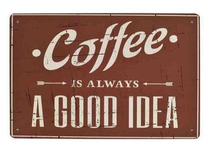 El café siempre es un buen 20x30 cm gárgola quería acdc gasolina whisky Route 66 emu poster bar pub decoración de la pared pintura de metal vintage cartel de chapa