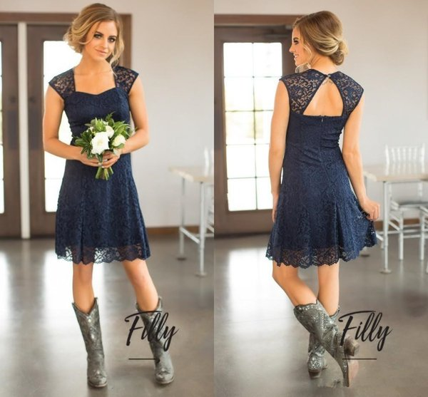 Country Short Lace Bridesmaid Dresses Cap sleeve Open Back Knee Length 2019 Navy Blue Wedding Guest Gowns Maid of Honor Party Dress