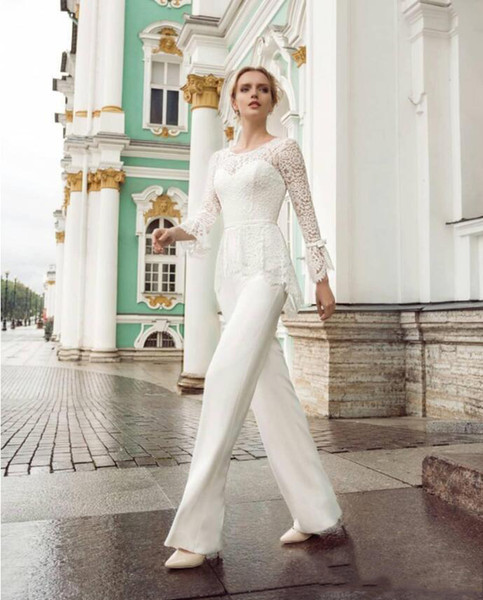 Elegant Mother 's Pants Suit With Lace Up Long sleeves Sash Ribbon Floor Length Jumpsuit Wedding Guest dresses Formal Evening Party Wears