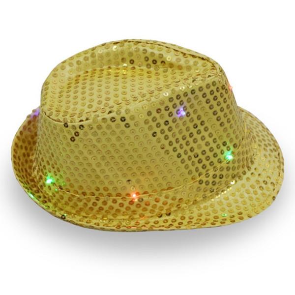 1 LED Light Up sequin Fedora Chapeaux de danse Jazz chapeaux pour hommes Party Supplies Club des femmes