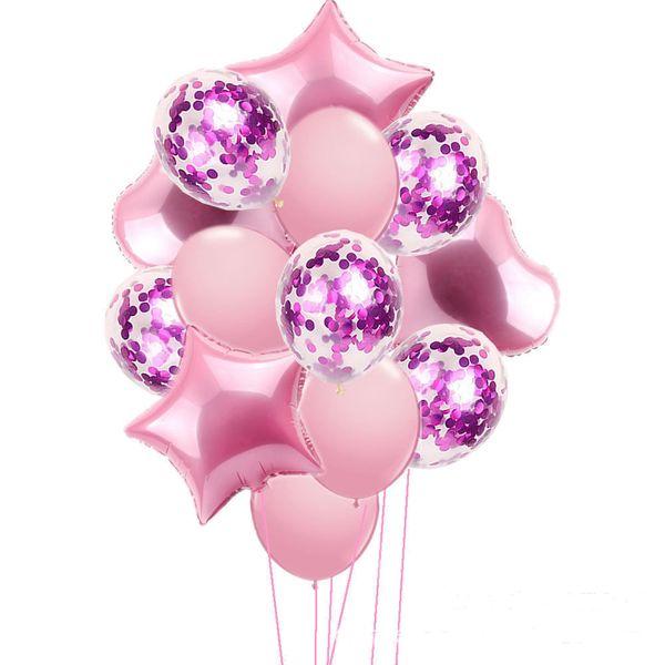 Pink Ballons+fuchisa confetti ballons
