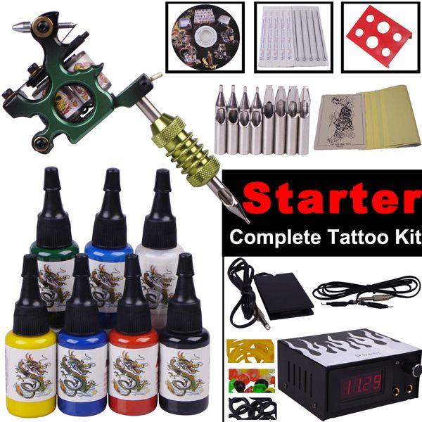 Tattoo Kit Máquina 7 cores de tinta Needles Led Power Supply aperto Prática Pele Maquiagem Permanente Pen Set para iniciantes