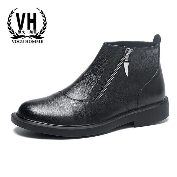 Zipper Martin boots mens black real leather  boots men British trendy short cowboy steel toe shoes autumn winter