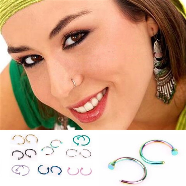 Fashion Trendy Nose Rings Body Piercing Jewelry Fashion Stainless Steel Nose Hoop Ring Earring Studs Fake Nose Rings Non Piercing ring