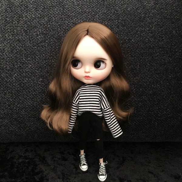 2pcs/set Striped T-shirt + hole jeans Doll Blyth Clothes Fashion pants pullip Shirt for 1/6 Doll Clothing Accessories for Barbie