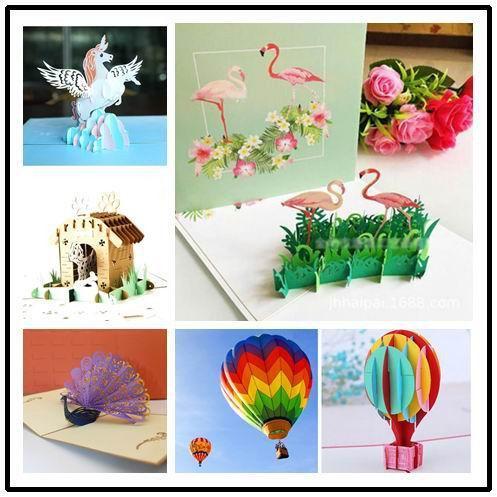 Criativo 3D Flamingo aniversário pop up cartão festa festival cartão de agradecimento bênção cartão postal Convite